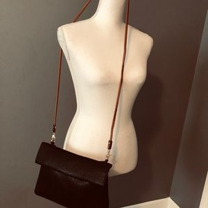 Black/Brown Leather Reversible Envelope Crossbody
